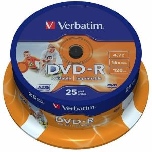 Verbatim DVD-R   cakebox 25   4.7GB   16x   Wide printable ]