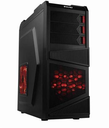 EVOLVEO K1, case ATX, herní case, 2x 120mm větrák, 2x USB2.0, 1x USB3.0, 2 x Audio, černo-červený