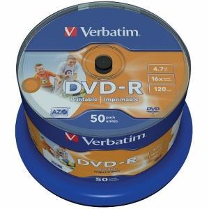 Verbatim DVD-R [ spindle 50   4.7GB   16x   Wide Inkjet printable   ID branded ]