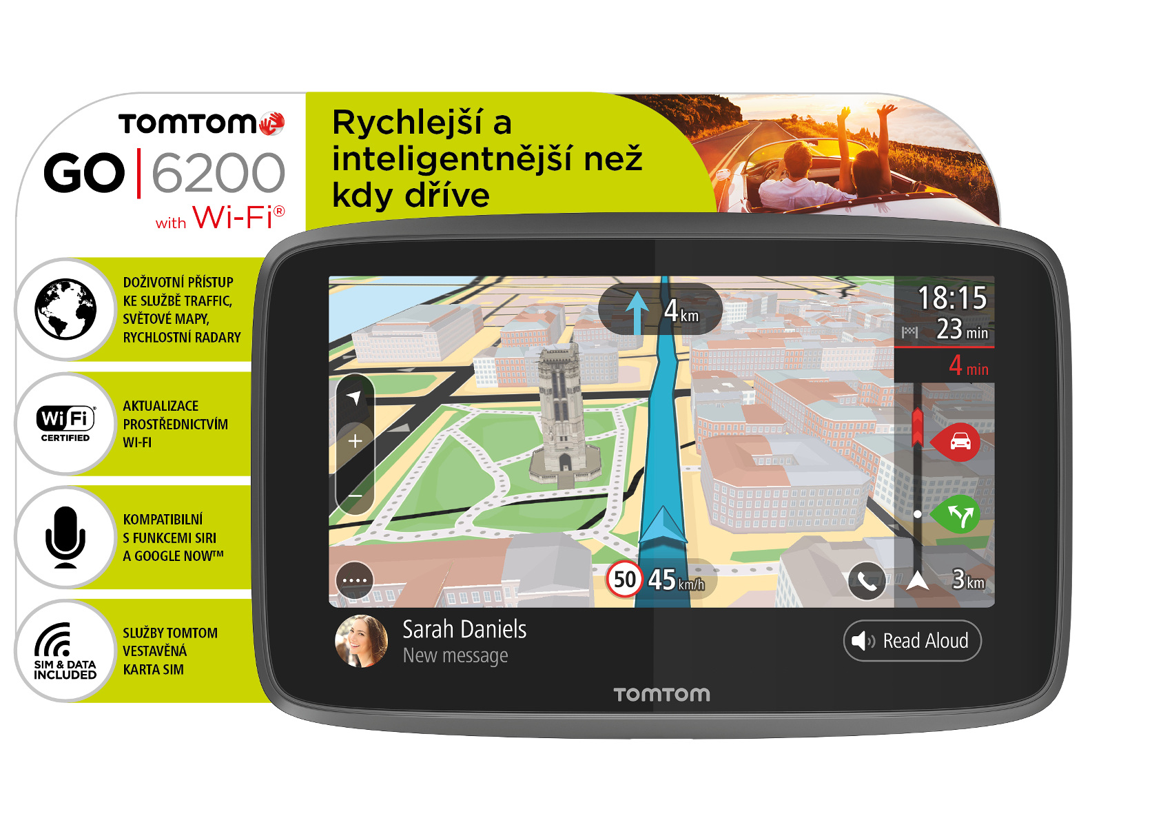 TomTom GO 6200 World, Wi-Fi, LIFETIME mapy