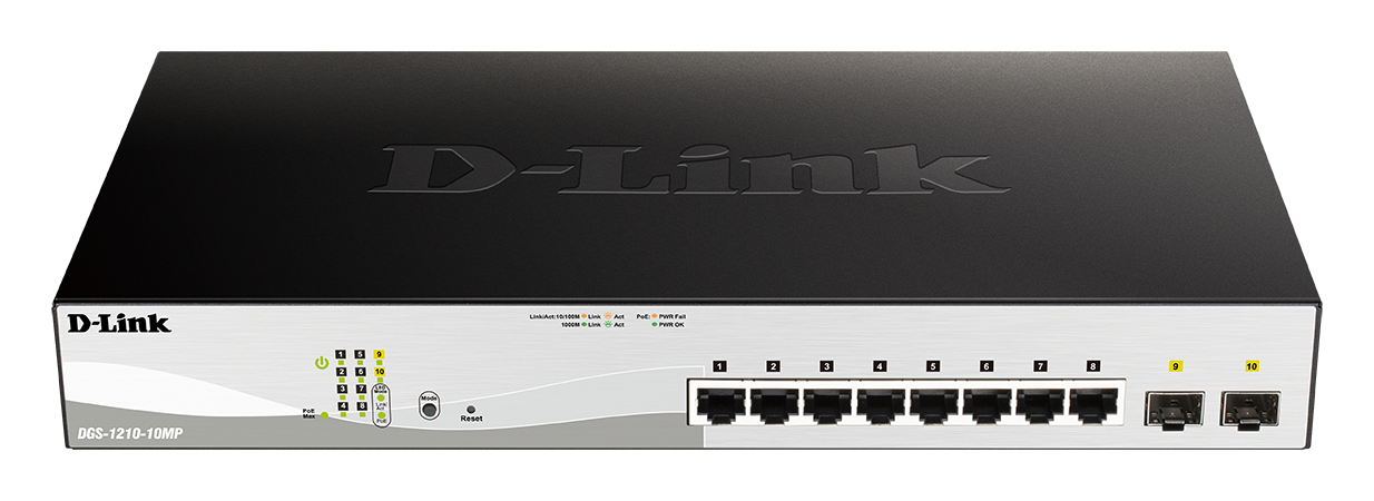 D-Link DGS-1210-10MP 10-port Max-PoE Gigabit Smart L2/L3 switch, 8x GbE PoE+, 2x SFP, PoE 130W, fanless