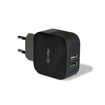 Cestovní nabíječka CELLY 2 x USB 3,4 A, černá