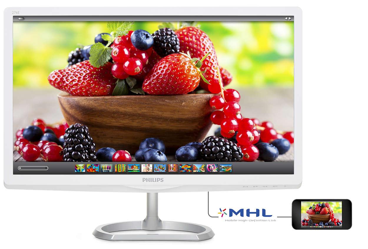 """27"""" LED Philips 276E6ADSS - FHD,IPS,HDMI,MHL,bílý"""
