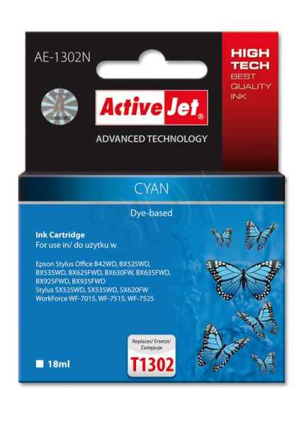 Ink ActiveJet AE-1302N | Cyan | 18 ml | Epson T1302