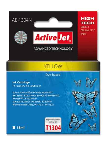 Ink ActiveJet AE-1304N | Yellow | 18 ml | Epson T1304