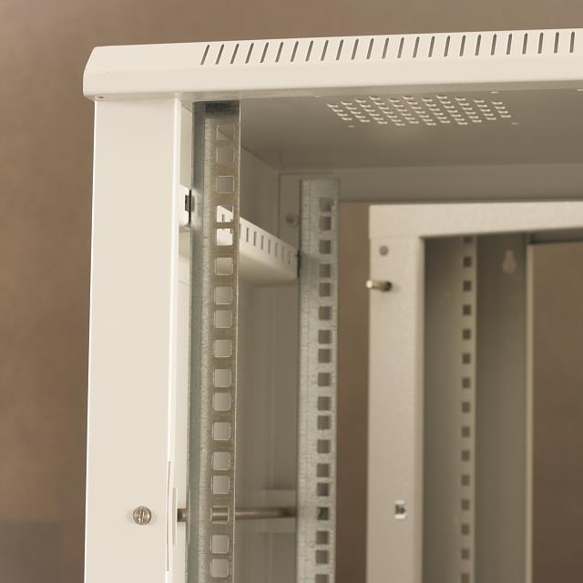 Netrack závěsný rack 19'' 12U/550 mm, skleněné dveře, dvojdílný, barva popelavá