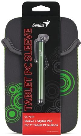 """GENIUS GS-701P, bundle pouzdro na 7"""" Tablet PC šedé + dotykové pero zelené"""