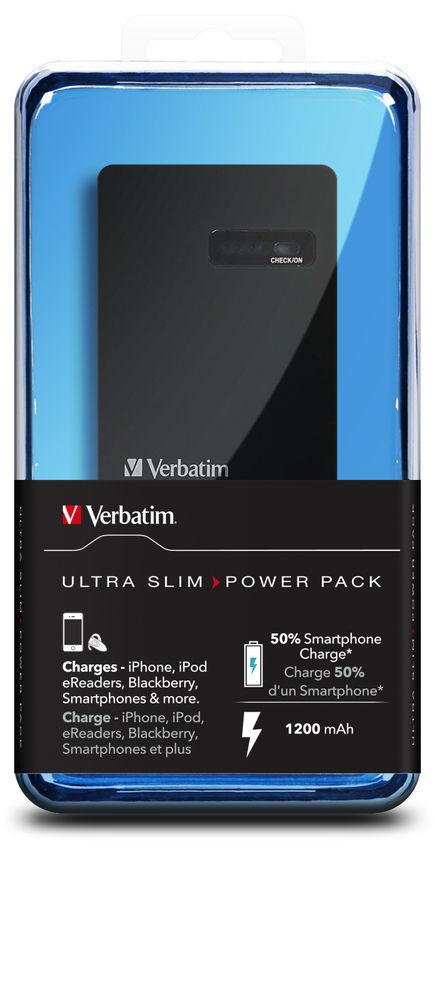 VERBATIM Přenosný ultratenký napájecí zdroj 1x USB / 1200 mAh Power Packs