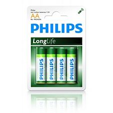 Philips baterie AA LongLife zinkochloridová - 4ks, blister