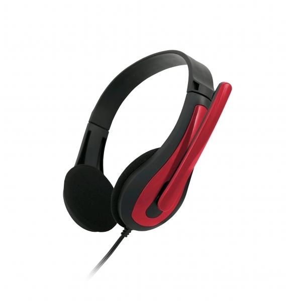 C-TECH sluchátka s mikrofonem MHS-01, černo-červená, 2x 3,5mm Jack