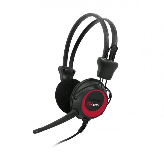 C-TECH sluchátka s mikrofonem MHS-02, černo-červená, 2x 3,5mm Jack