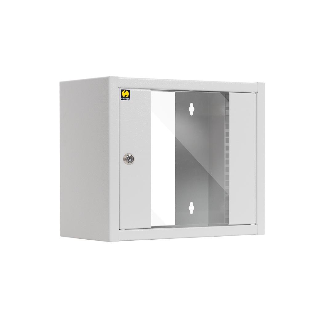 Závěsný datový rozvaděč 10'' Netrack 6U/300 mm, barva popelavá, skleněné dveře