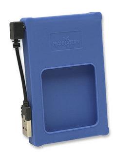 """MANHATTAN USB 2.0 2,5"""" SATA silikonový box na externí HDD, modrý"""