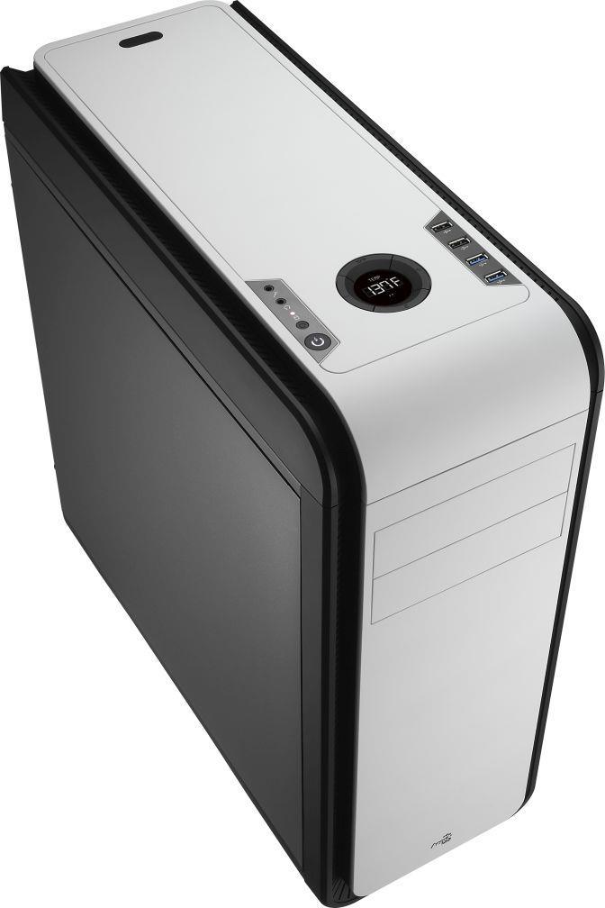 PC skříň Aerocool ATX DS 200 BLACK / WHITE, USB 3.0, bez zdroje