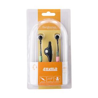 World Kanálové nitroušní sluchátka + Mikrofon PC Basic | jack 3.5mm | 2m černý