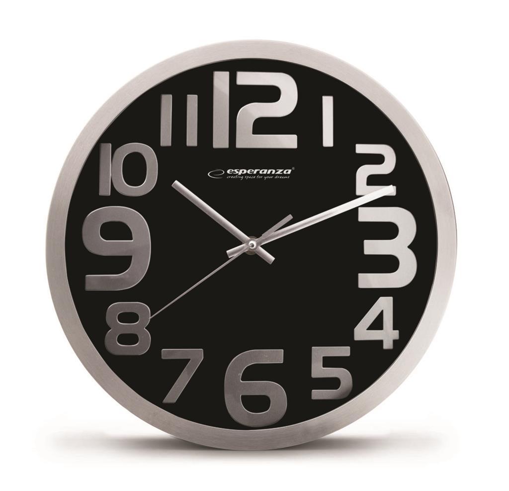 Esperanza EHC012K HONGKONG nástěnné hodiny, černé