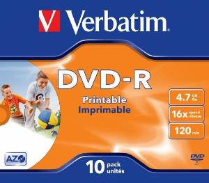 Verbatim DVD-R [ jewel case 10 | 4.7GB | 16x | printable ]