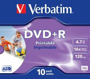 Verbatim DVD+R [ jewel case 10 | 4.7GB | 16x | printable ]