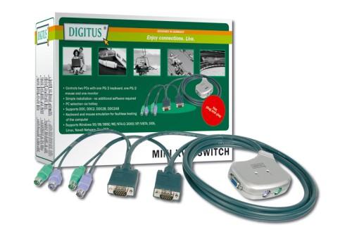 Digitus Mini KVM Switch 1User, 2Pcs, PS/2