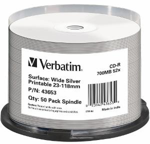 Verbatim CD-R [ spindle 50 | 700MB | 52x | WIDE SILVER INKJET PRINTABLE NON ID ]