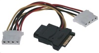 """PREMIUMCORD Kabel SATA napájecí (Y) redukce -> 3x Molex 5,25"""" (16cm, rozdvojka)"""