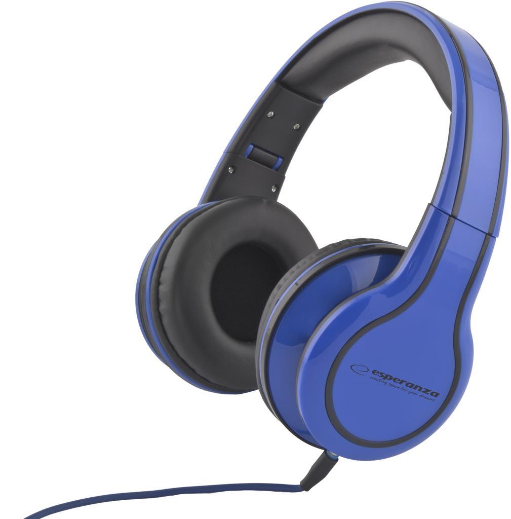 Esperanza EH136B BLUES Stereo sluchátka, skládací, ovl. hlasitosti, 3m, modrá