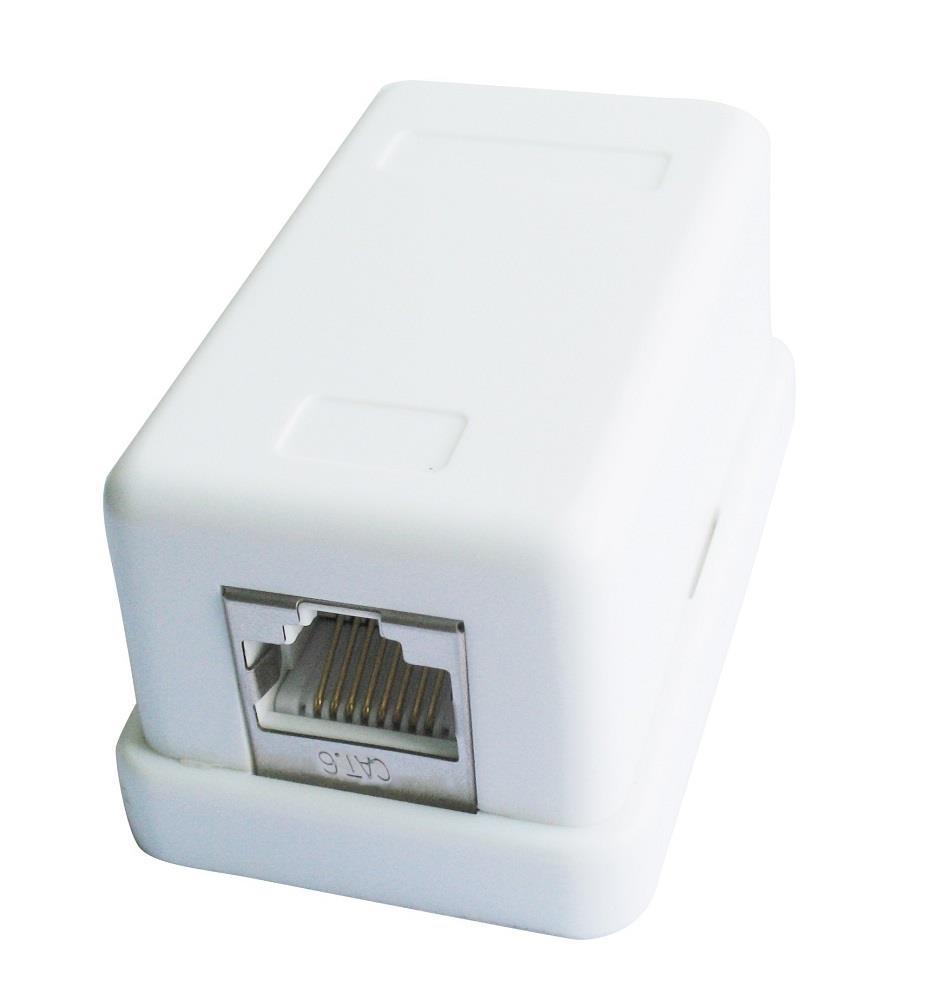 Gembird zásuvka kat. 6 STP 1xRJ45 na omítku, bílá, stíněná