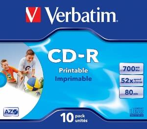 Verbatim CD-R | jewel case 10 | 700MB | 52x | printable | DataLife+ AZO ]