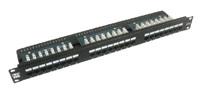 Patch panel LYNX 24port Cat5E, UTP, vyvaz.lišta, černý