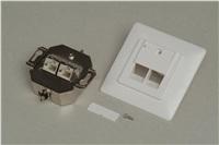 Zásuvka Profi-2port. úhlová pod omítku STP, Cat5E, bílá