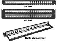 Modulární panel LYNX bezrámečkový pro keystony 16port,1U, černý