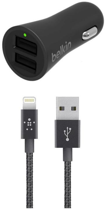 Belkin USB nabíječka do auta 2,4A/5V, 2-portová + Lightning kabel 1,2m - černá