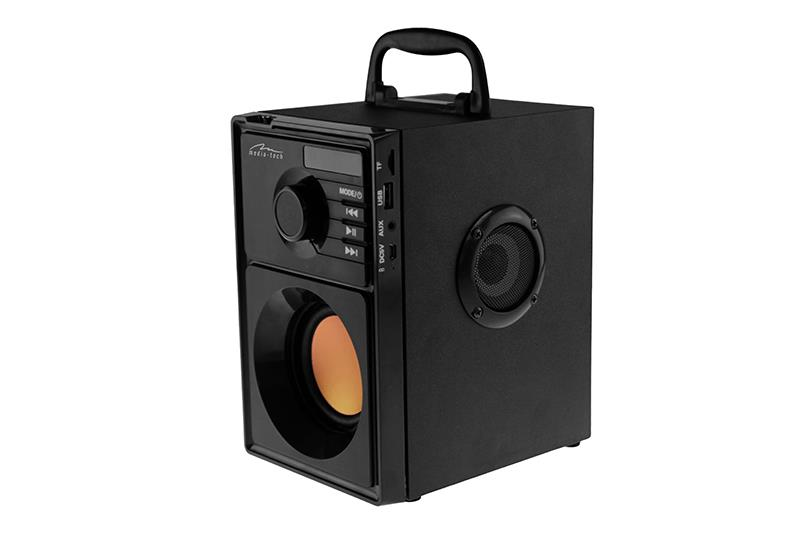 BOOMBOX BT MT3145 has a built-in subwoofer and two midrange speakers. 15W RMS