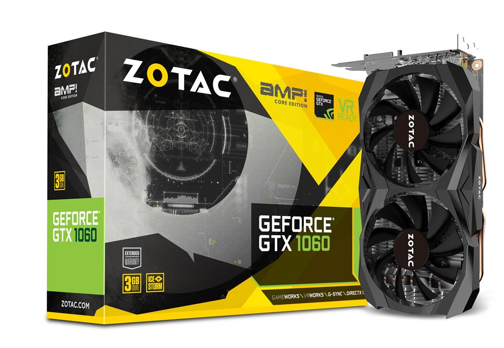 ZOTAC GeForce GTX 1060 AMP Core Edition, 3GB GDDR5, DVI/HMDI/DP