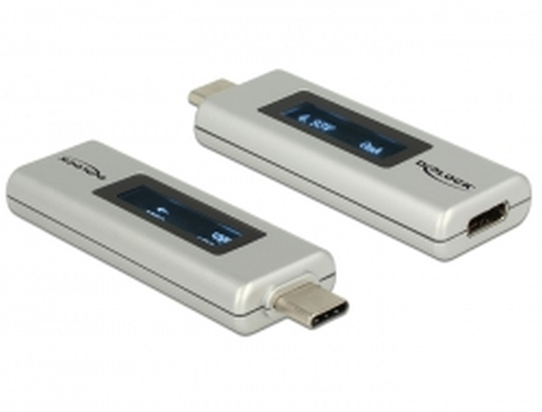 Delock USB Type-C™ PD Adaptér s OLED indikátor pro volty a ampéry – obousměrný