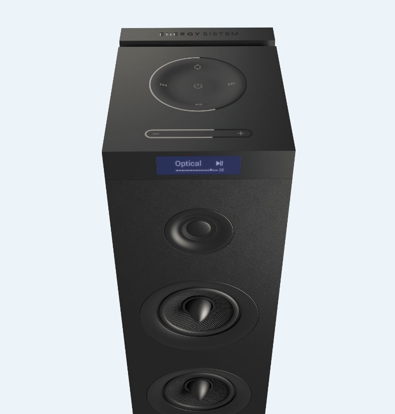 ENERGY Tower 8 G2 Black, audio systém 2.1, 120W, Bluetooth, USB, microSD, 3.5mm vstup, FM rádio, dotykový panel