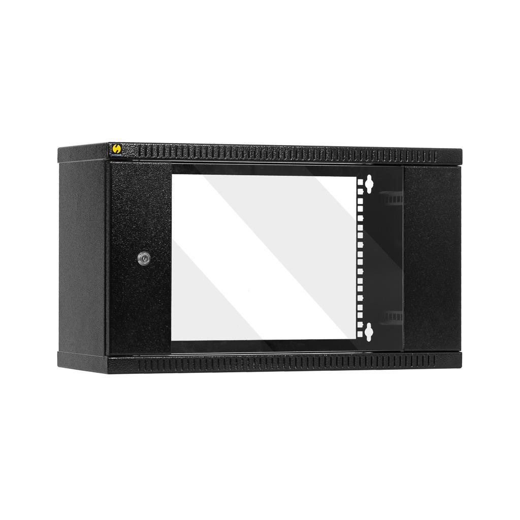 Závěsný datový rozvaděč 19'' Netrack 6U/240mm, prosklené dveře, barva grafit