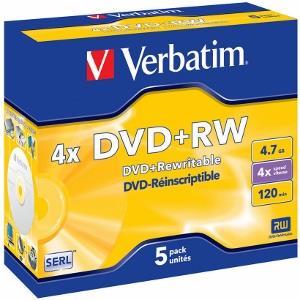 Verbatim DVD+RW [ jewel case 5   4.7GB   4x ]
