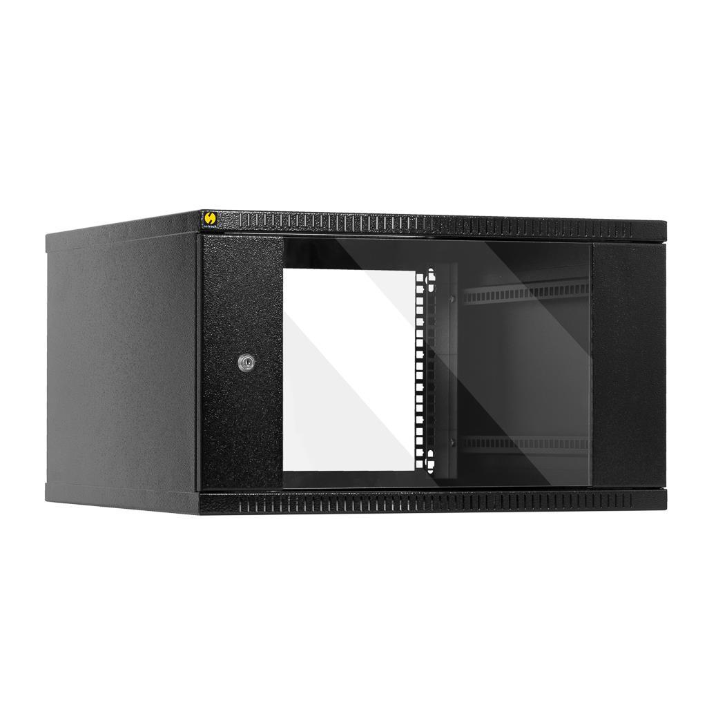 Závěsný datový rozvaděč 19'' Netrack 6U/600mm, skleněné dveře, barva grafit