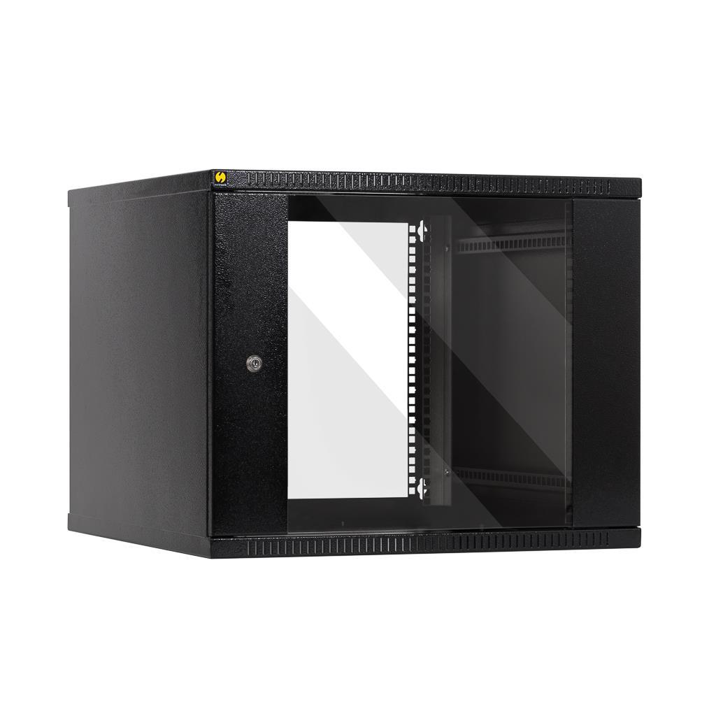 Závěsný datový rozvaděč 19'' Netrack 9U/600mm, skleněné dveře, barva grafit