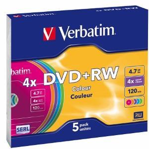 Verbatim DVD+RW [ slim jewel case 5   4.7GB   4x   Colour ]