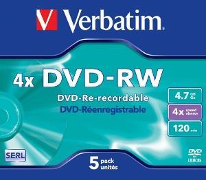 Verbatim DVD-RW [ jewel case 5   4.7GB   4x ]
