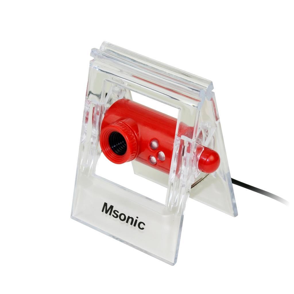 MSONIC webová kamera s mikrofonem USB 2.0, 3 led, MR1803R červená