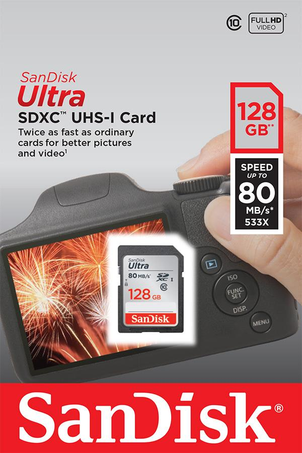 SanDisk Ultra paměťová karta SDXC 128GB čtení: až 80MB/s Class 10 UHS-I