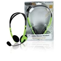 BasicXL sluchátka s mikrofonem k PC, zelené - BXL-HEADSET1GR