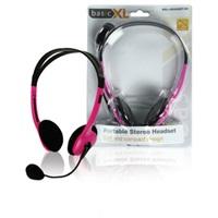 BasicXL sluchátka s mikrofonem k PC, řůžové - BXL-HEADSET1PI