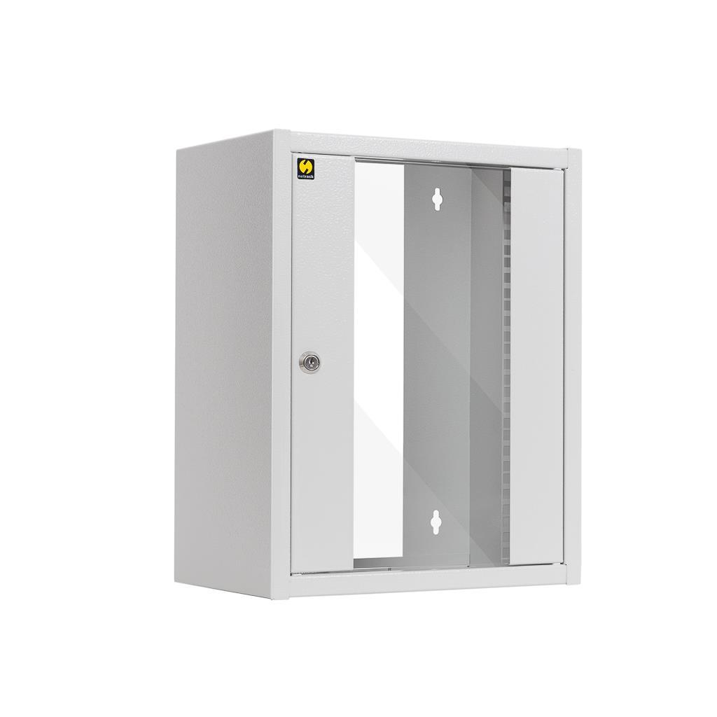 Závěsný datový rozvaděč 10'' Netrack 9U/300 mm, barva popelavá, skleněné dveře