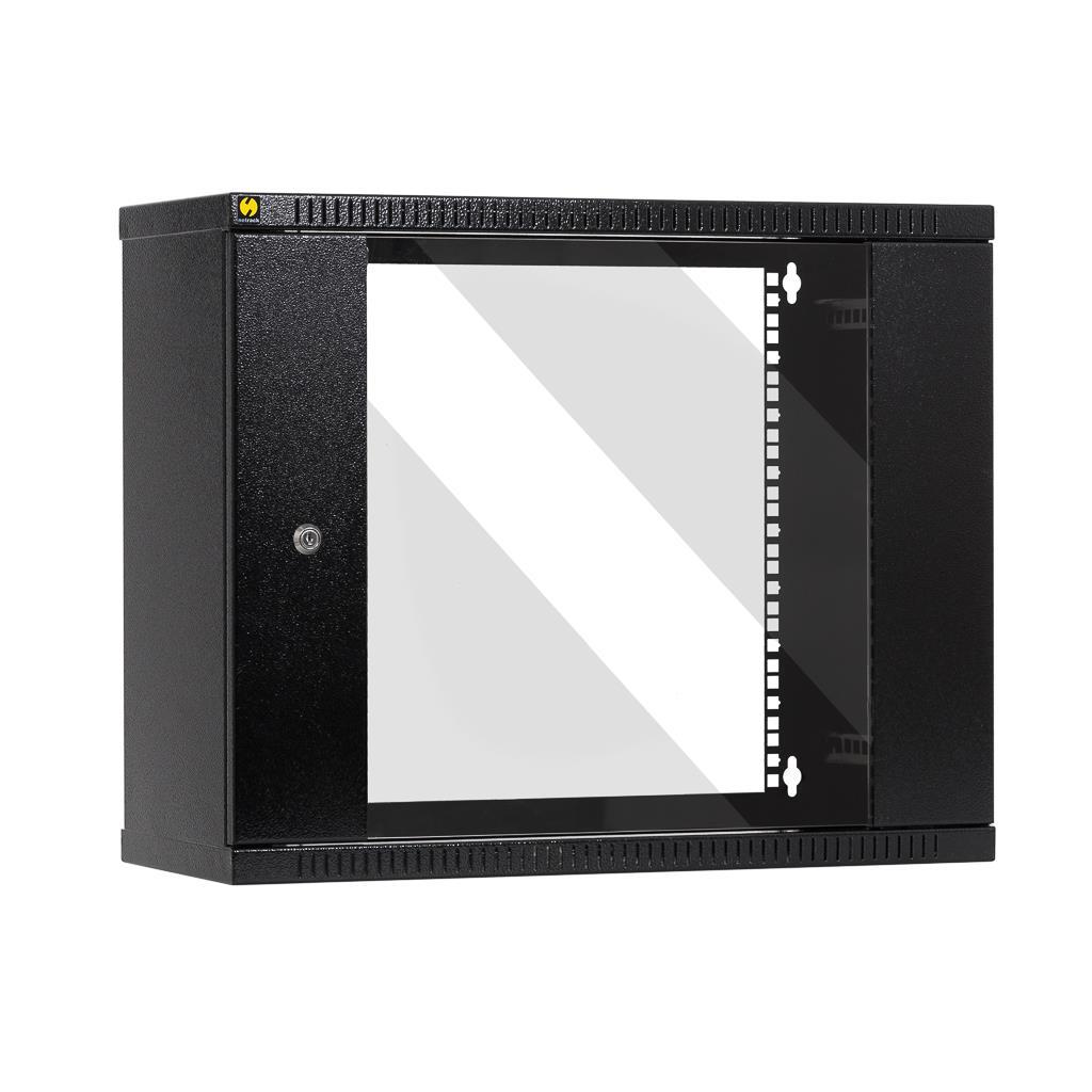 Závěsný datový rozvaděč 19'' Netrack 9U/240mm, sklenené dvere, barva grafit