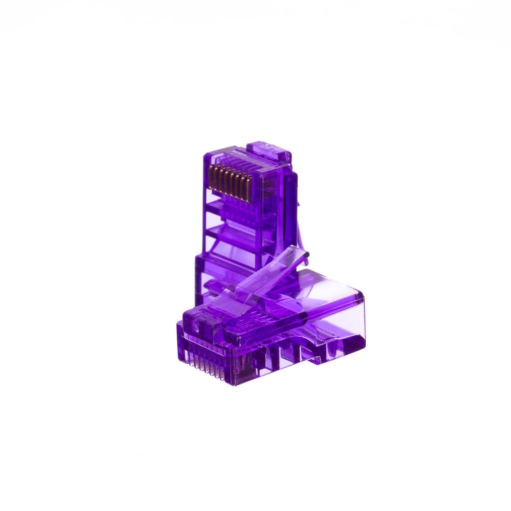 Netrack konektor RJ45 8p8c, UTP drát, cat. 5e (100 ks), fialový