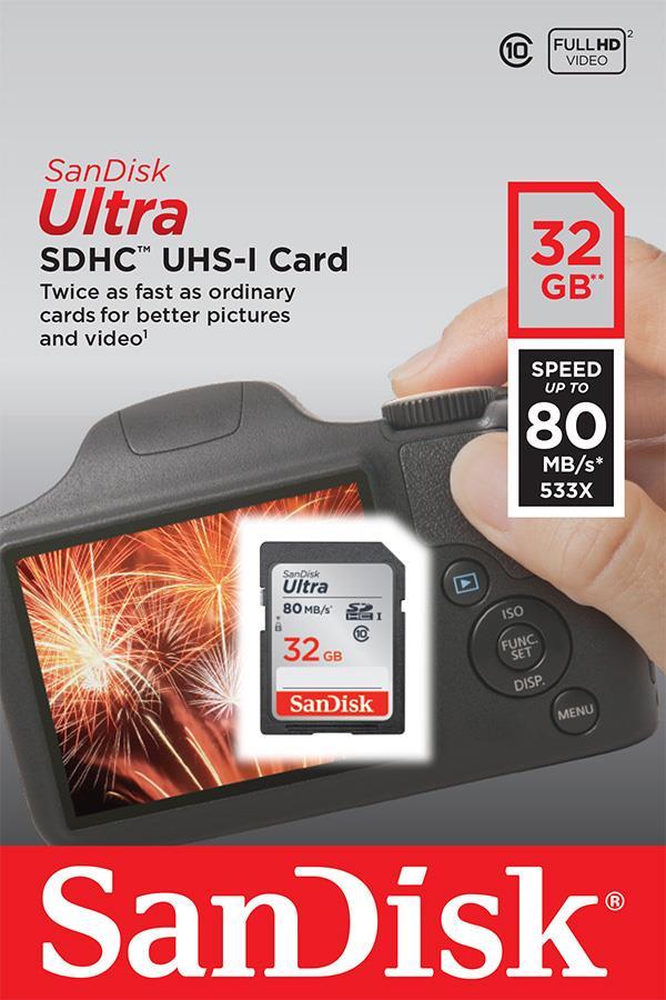 SanDisk Ultra paměťová karta SDHC 32GB čtení: až 80MB/s Class 10 UHS-I
